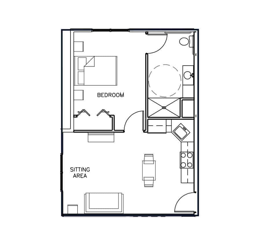 Assisted Living One Bedroom Floor Plan