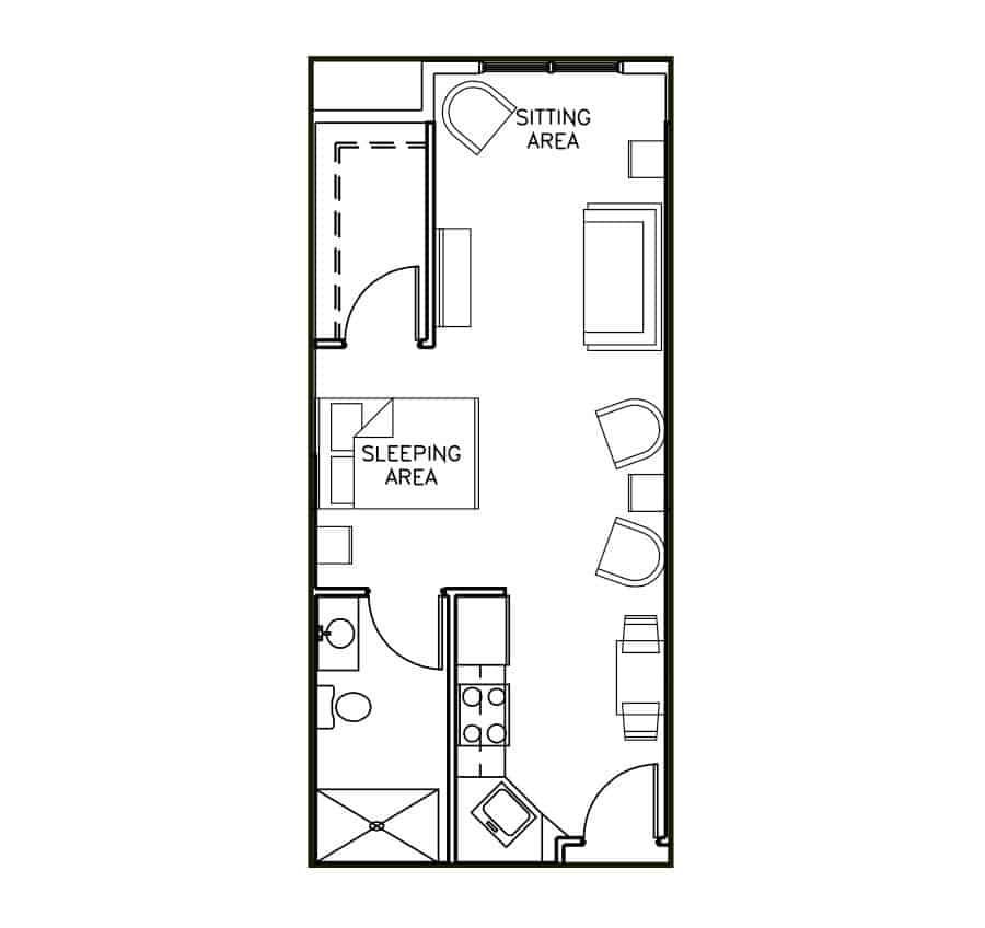 Assisted Living Studio Floor Plan