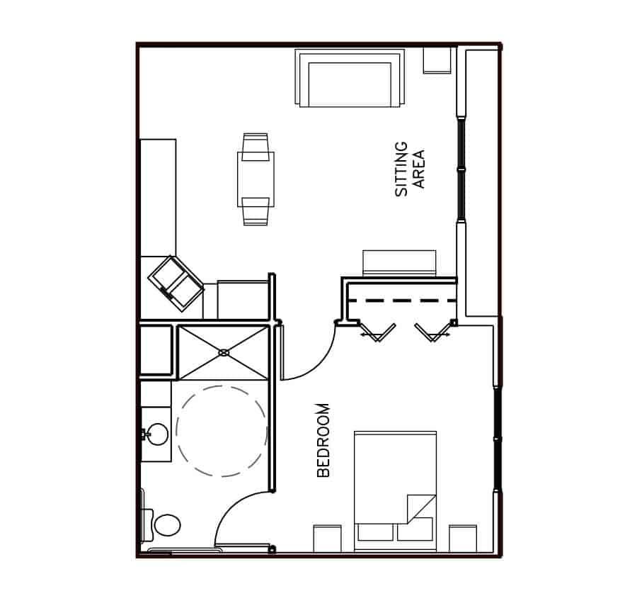 Memory Care One Bedroom Floor Plan